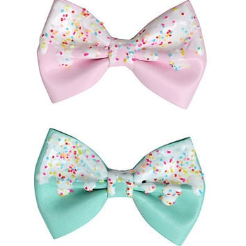 Pink & Mint Icing & Sprinkles Hair Bow Set