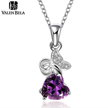 VALEN BELA Vintage Purple Stellux Austrian Crystals White Gold Plated Collar 2015 Necklaces & Pendants XL1011