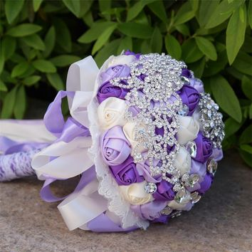New purple and light purple Artificial Flowers Bouquets Diamond Crystal Marriage Wedding Bouquet Rose Bride Bouquet