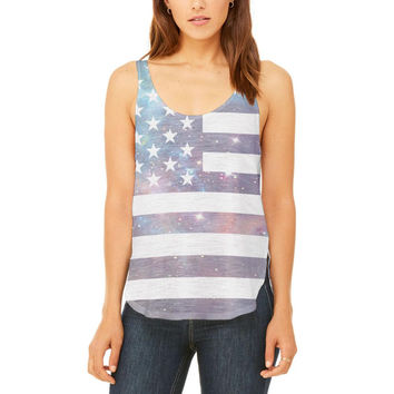 4th of July Galaxy American Flag USA Juniors Flowy Side Slit Tank Top