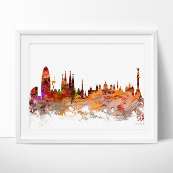 Barcelona Spain Art , Barcelona Skyline Art Print, Abstract Art, Wall Art, Gift, Barcelona Skyline, Spain Cityscape, Wall Decor (172)