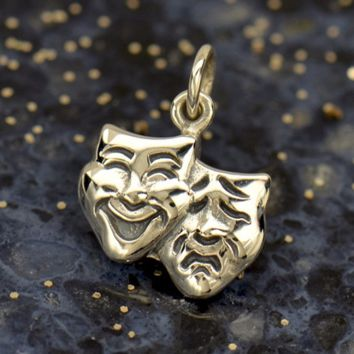 Sterling Silver Theatre Mask Charm - Comedy and Tragedy