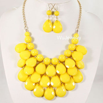 NEW Yellow Drop Necklace,Statement Bubble Necklace,Chunky Necklace,Cluster Necklace-BN292