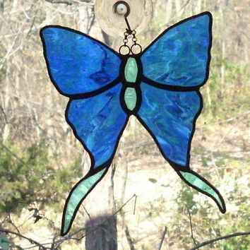 Stained Glass Water Glass Blue and Aqua Butterfly Luna Moth Black Patina Suncatcher