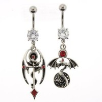 """Stainless Steel Winged Dragon Belly Rings with Red/Black Enamel and Red Crystals - 14G - 3/8"""" Bar Length - Sold as a Set of Two"""