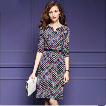 Autumn 2016 New Causal Style Women Dress Fashion Plaid Printed Half Sleeve Bodycon Dress Elegant Temperament Female Dresses