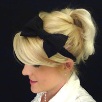 Little black dress bow stretch headband pinup/retro/feminine