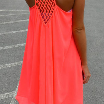 Neon Red Spaghetti Strap Back Cut-Out Mini Dress