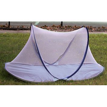 Popup mosquito Tent mesh with poly floor color is pink and blue 4x11x6x11