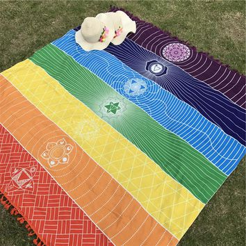 Rainbow Wall Hanging Mandala Blanket 7 Chakra Colored Tapestry, Beach Towel, Yoga Mat