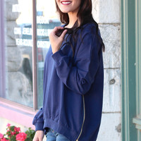 Zippered-Side Sweatshirt {Navy}