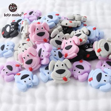 Let's Make 20pcs Pug Dog Sticking Tongue Perle Silicone Beads BPA Free Silicone Teether Teething Toys Baby Products Baby Teether