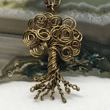 Swirly Tree Of Life Necklace, Tree Pendant, Antique Copper Tree and Chain, Wire Wrapped Tree, Tree Jewelry, Unisex Pendant