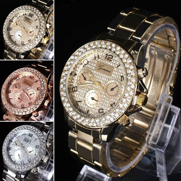 Geneva Analog Bling Womens Bangle Bracelet Band Rhinestone Quartz Wrist watch = 1956483652