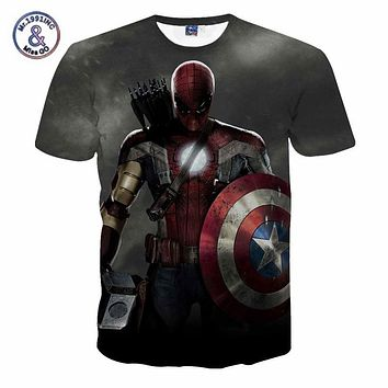 Comic Marvel Avengers T Shirt Men Superhero Captain America Spider Man Iron Man Tshirt  Summer Novelty Deadpool Tee Shirts