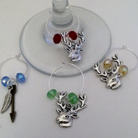 Buck Wine Glass Charms 4pc Set, Wedding gifts, Housewarming gifts, Wine Charm Rings, Wine charm hoops, Deer Charm Rings, Hunter Bar Decor