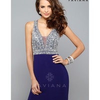 Preorder - Faviana S7667 Purple V-Neck Beaded Bust Short Dress 2015 Homecoming Dresses