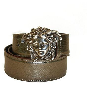 ESBON Versace Belt Bronze/Brown Leather with Silver Medusa Logo 90cm (36 inches)