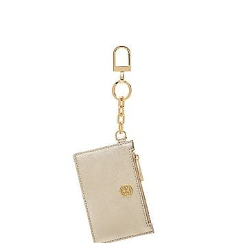 Tory Burch Robinson Metallic Zip Card Key Fob