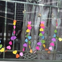 Pack of 4 10-feet Long Colorful Paper Sweet Heart Shaped Hanging Decoration String Paper Garland Wedding Birthday Party Baby Shower Background Decorative - Rainbow Color