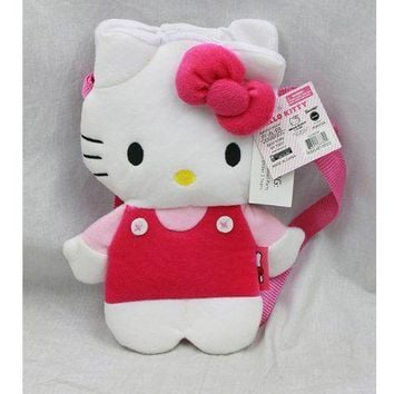 Licensed Plush Handbag - Sanrio - Hello Kitty - Pink Flat Body (Hand Bag Purse)