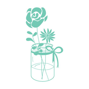 Mint Mason Jar With Flowers SALE