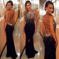 Halter Floor-Length Black Mermaid Prom Dresses 2017 Sexy Backless Long Off the Shoulder Evening Party Dresses