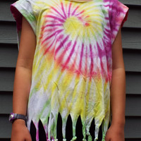 Ladies Fringed Tie-Dye Shirt, Womens large tank top with hippie fringe, altered t-shirt, fringed tank, hippie party, beach shirt, boho tee
