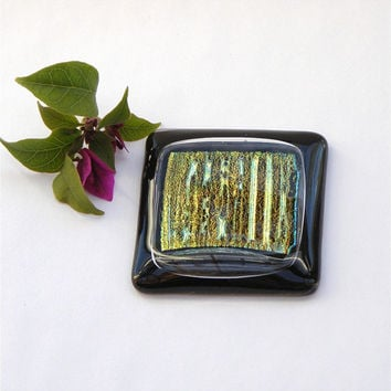 Dichroic Fused Glass Magnet, Refridgerator Magnet, Gold Dichroic Glass on Black