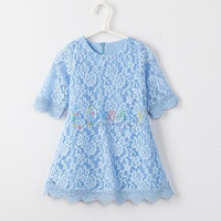 2016 spring summer Family Matching Outfits mother daughter dresses teenager clothes candy color lace dress Princess Mini Dresses