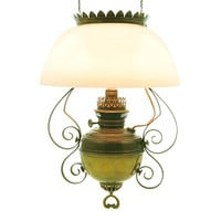 Antique Hanging Kerosene Oil Lamp Converted to Electric Rayo Milk Glass Shade Brass Copper Scrolls