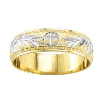 14K Two Toned Gold Cross With Fronds Wedding Band (6.00 Mm)