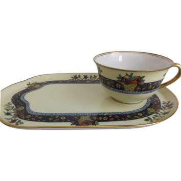 Noritake Hand-painted Cup Plate Snack Set Art Deco Style Flowers Fruit Baskets