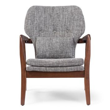 Baxton Studio Rundell Mid-Century Modern Retro Grey Fabric Upholstered Leisure Accent Chair in Walnut Wood Frame Set of 1