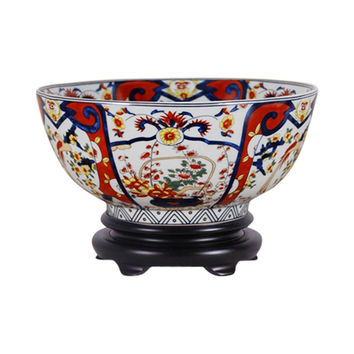 "Beautiful Imari Style Porcelain Bowl with Stand 12"" Diameter"