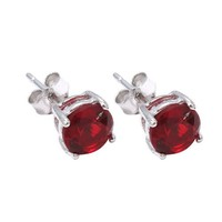 Sterling Silver.925 Ruby Cubic Zirconia Stud Earrings 2.00 Carats Total Weight Comes in a Gift Box & Special Pouch | AihaZone Store