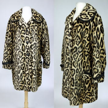 1960s leopard print coat, faux fur vegan leather trim coat, warm winter coat, safari animal print, Russel Taylor, Large, size 10