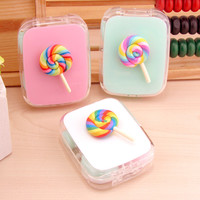 1PCS Cartoon Cute sweet Lollipop Contact Lenses Case fashion Contact Lenses Box  for Eyes Care Kit Holder Container Gift