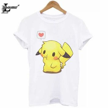 ICIKHG7 Hot Sale Pokemon Go Pikachu 3D Print T-Shirt Plus Size Cute Casual Elastic All-Match White T Shirts Kawaii Loose Funny Tops H967