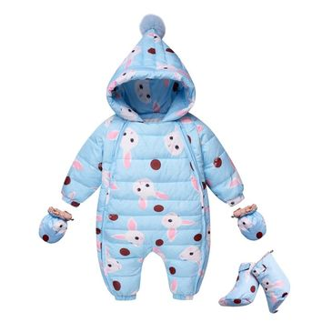 Infant Duck Costume Baby Winter Snowsuit Hooded Jumpsuit Children Snow Wear Clothing For Newborns Bodysuits One-pieces Coverall