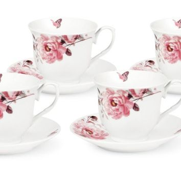 Set of 4 Pink Butterfly and Roses Teacups Perfect for Tea Parties! Save More with FREE SHIPPING on orders over $49!