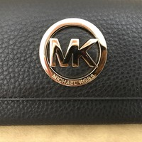 NWT MICHAEL KORS 'FULTON' CARYALL BLACK LEATHER BIFOLD CLUTCH WALLET $148