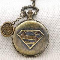 Superman Pocket Watch -The Man of Steel -Watch Fob -Watch Necklace -Wax Seal -Initial -Letter -Your Choice A-Z -Antique Bronze 880018