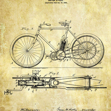 Motorcycle Patent Print - 1901 Patent Poster - Motorcycle - Biker Print Faux Vintage