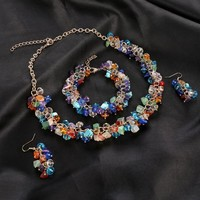 Colorful Natural Stone Necklace Bracelet African Beads Jewelry Sets