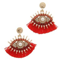 Evil Eye Beaded Post Drop Earring