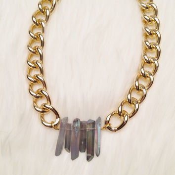 Frosty Gray Quartz Crystal Gold Chunky Chain Link Necklace