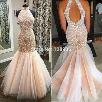 Champagne Mermaid Prom Dresses 2016 Sexy Halter Long Evening Dress with Pearls Beaded Sexy Tulle Trumpet Evening Gowns Party