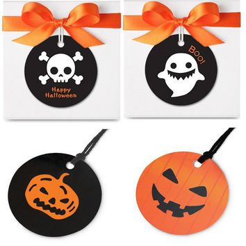 evil Pumpkin naughty ghost 50 pcs halloween paper labels candy packaging decor tags for To trick or treat sweet Scrapbooking DIY