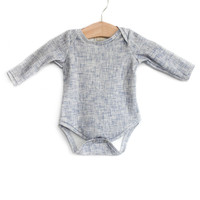 Organic Long-Sleeve Bodysuit in Acid Jean